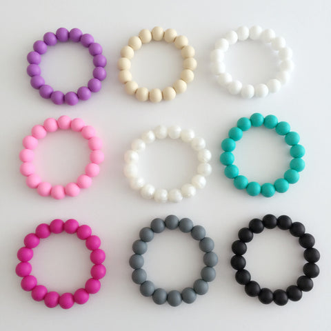 Silicone Teething Bracelet or Teething Ring - Choose Your Color