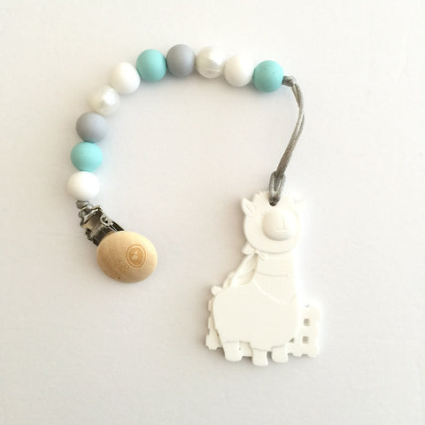 Silicone Pacifier Clip with Alpaca Teether - eggie baby