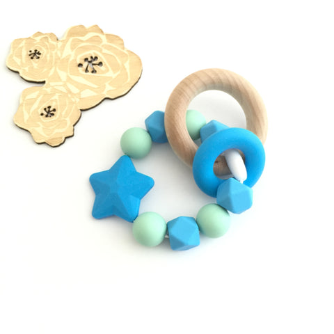 Teething Toy Star - Blue - eggie baby