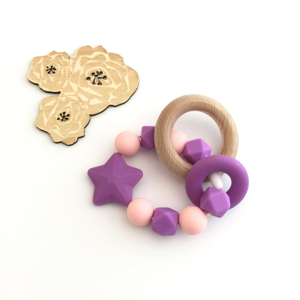 Teething Toy Star - Purple - eggie baby