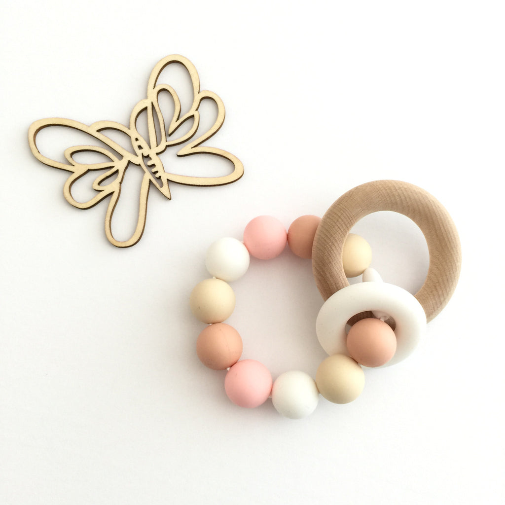Teething Toy Classic - Cream Pink - eggie baby