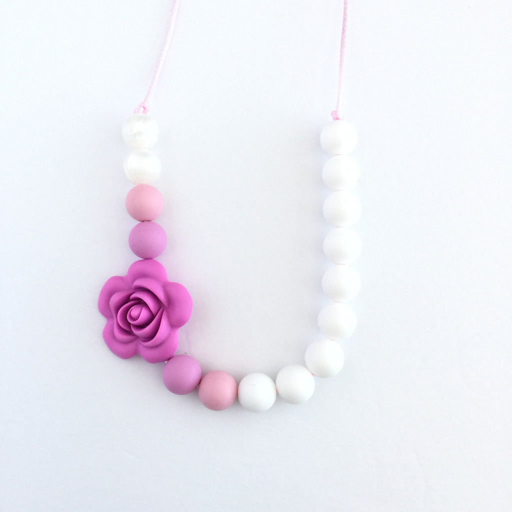 Teething Necklace Floral - Lilac - eggie baby
