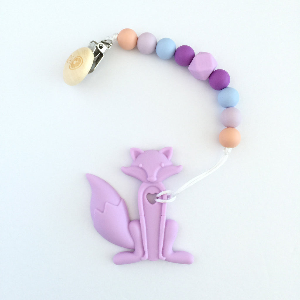 Silicone Pacifier Clip with Lavender Fox Teether - eggie baby