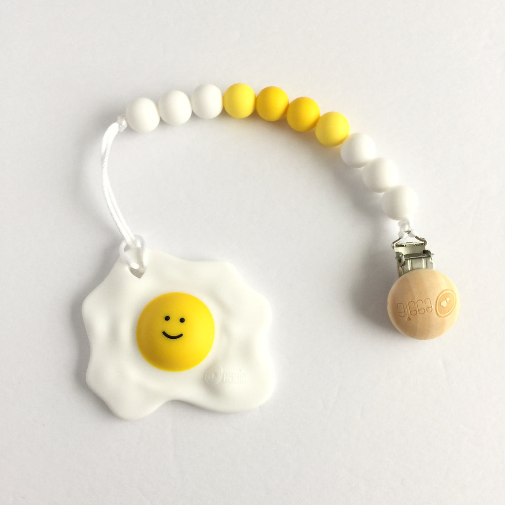 Eggclusive! Silicone Pacifier Clip with Happy Egg Teether - Choose Your Color - Premium Designer Teether - eggie baby