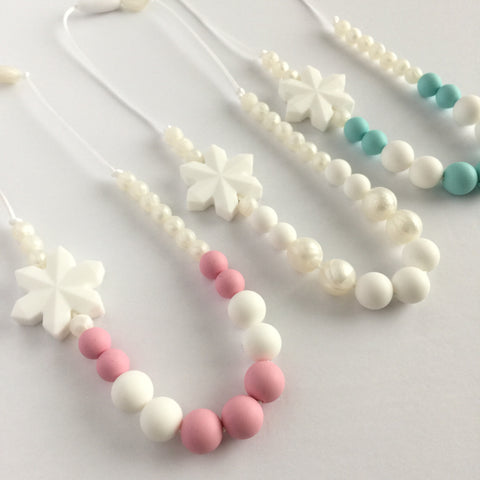 LET IT SNOW! Teething Necklace Snowflake - Choose Your Color - eggie baby