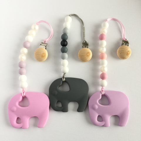 Silicone Elephant Teether with Clip - Choose Your Color - eggie baby