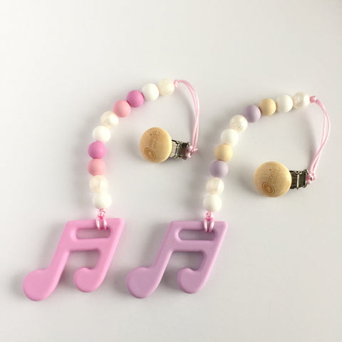 Silicone Music Note Teether with Clip - Pink or Lilac - eggie baby