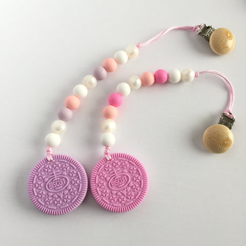 Silicone Cookie Teether with Clip - Strawberry or Lavender Cookies - eggie baby