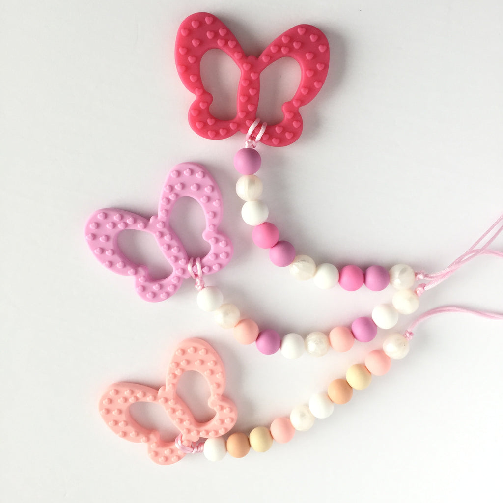Silicone Butterfly Teether with Clip - Choose Your Color - eggie baby