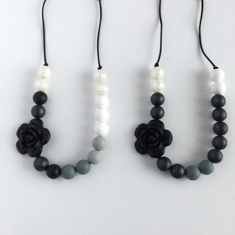 Teething Necklace Floral - Classic Black - eggie baby
