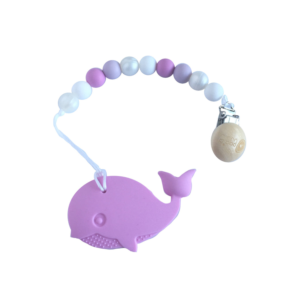 Silicone Whale Teether with Pacifier Clip