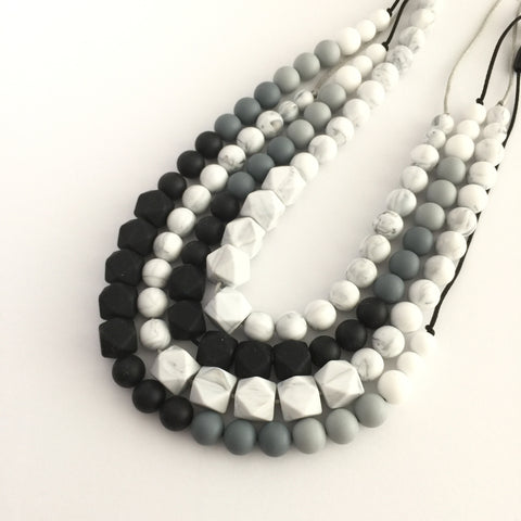 Teething Necklace - Classic Geo Monochrome - Choose your color!