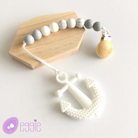 Silicone Anchor Teether with Pacifier Clip - eggie baby