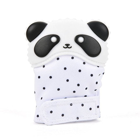 Silicone Panda Teether Mitten - Choose your mitten fabric - eggie baby