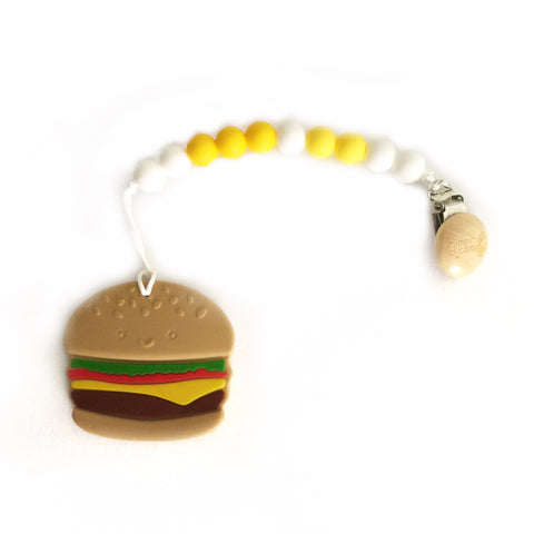 Silicone Burger Teether with Pacifier Clip - eggie baby