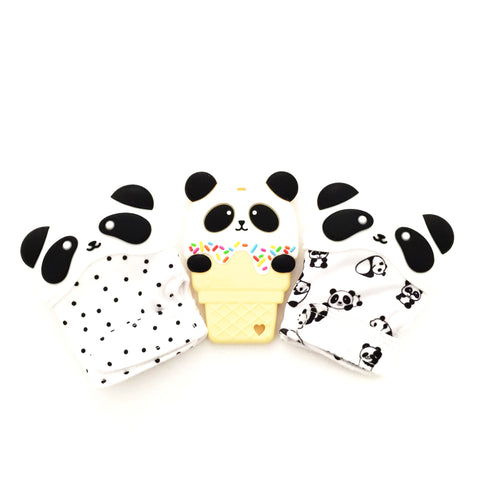 PANDA COMBO! Silicone Panda Ice Cream Teether & Mitten - eggie baby