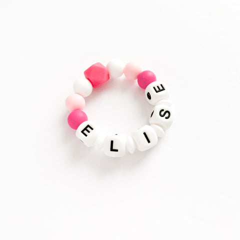Teething Ring ONLY - PERSONALIZED Name, Initial or Words - eggie baby