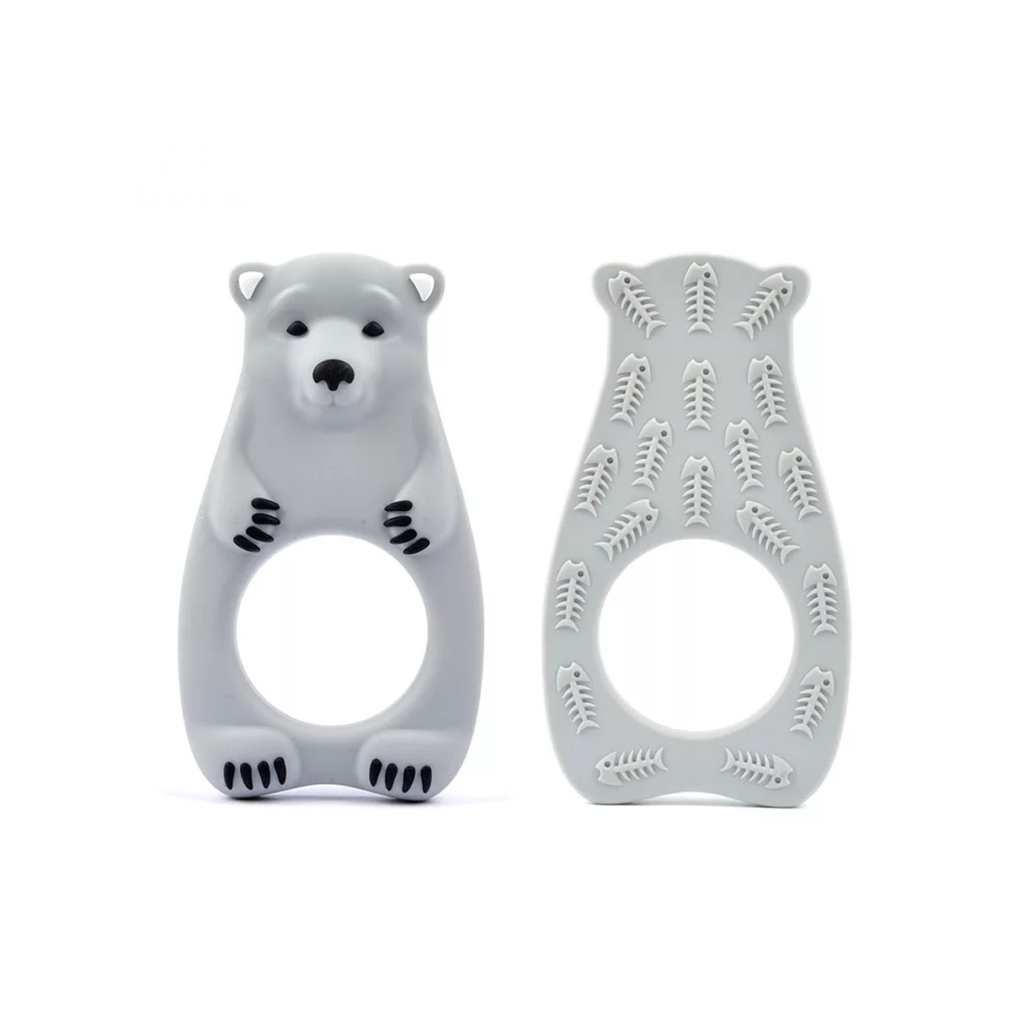 Silicone Polar Bear Teether - Grey - eggie baby