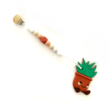 Silicone Aloe Succulent Plant Teether - Dark Terra Cotta Plant with Pacifier Clip