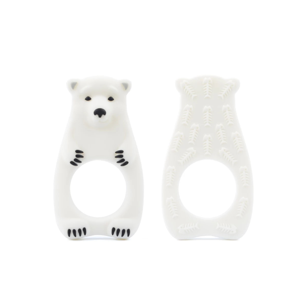 Silicone Polar Bear Teether - White - eggie baby