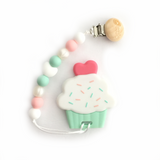 Silicone Cupcake Teether with Pacifier Clip - eggie baby