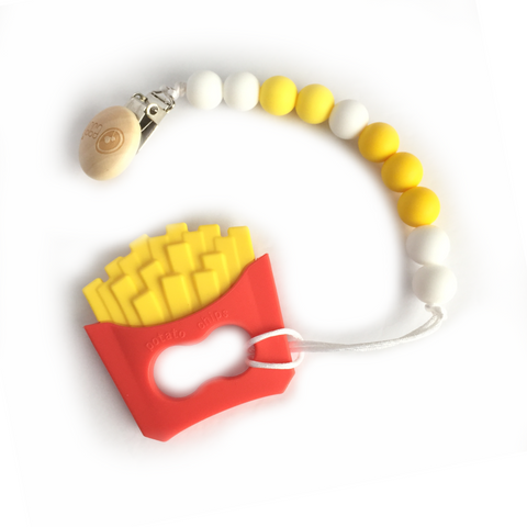 Silicone French Fries Teether with Pacifier Clip - eggie baby