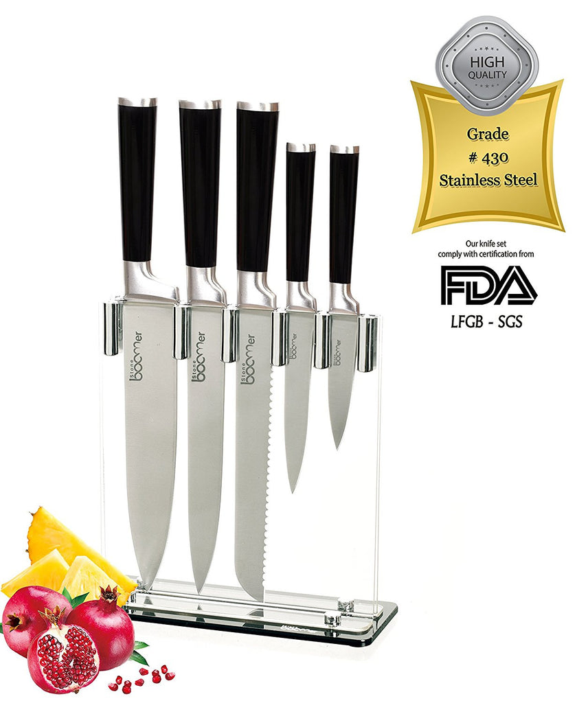 # 04 - 6 Piece Stainless Steel Black Handle Kitchen Knife Set