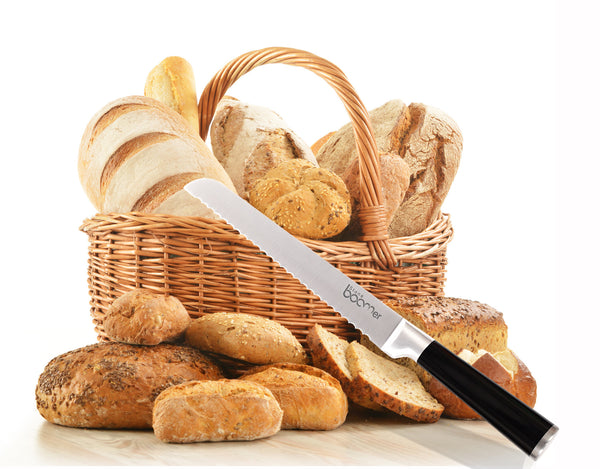 # 19 - Stainless Steel Kitchen Black Handle Bread Knife
