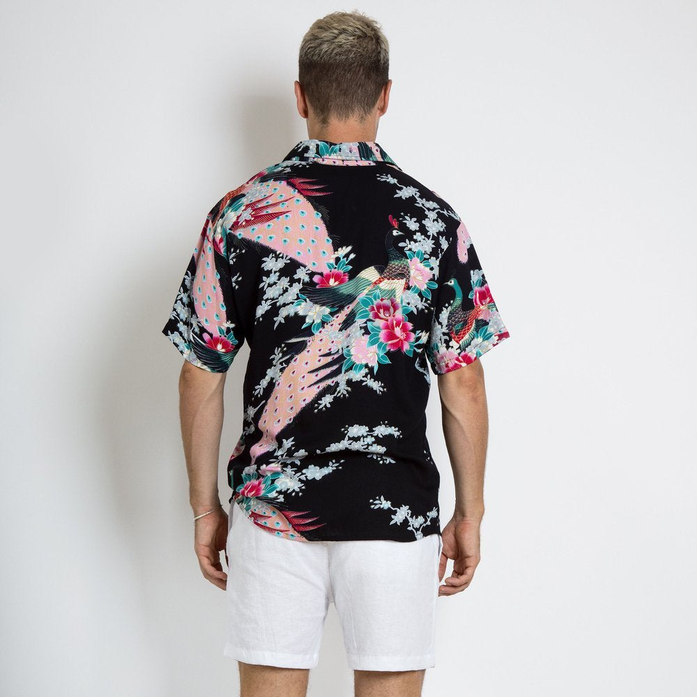 BRACEWELL - Peacock Short Sleeve Shirt (Black)
