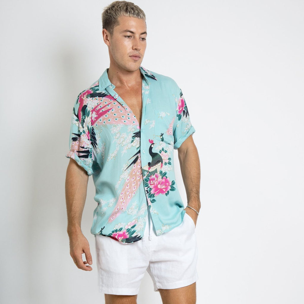 BRACEWELL - Peacock Short Sleeve Shirt (Blue)