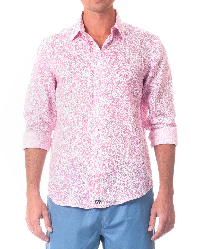 PINK HOUSE MUSTIQUE Linen Shirt - Seafan (Coral)