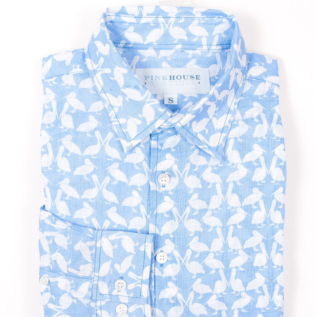 PINK HOUSE MUSTIQUE Linen Shirt - Pelican (Blue)