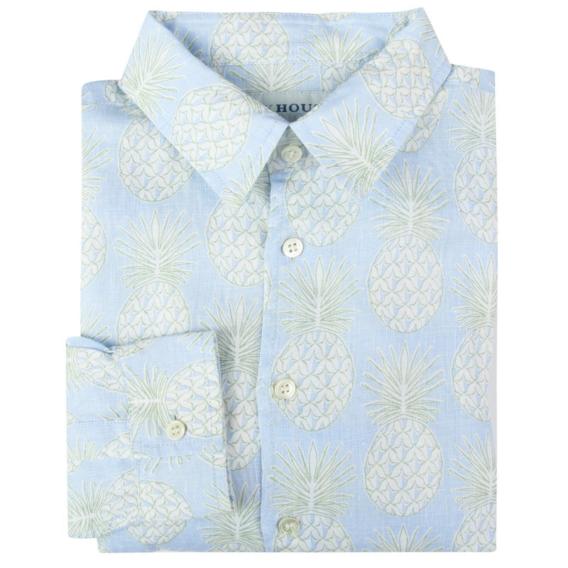 Pink House Mustique - Pineapple Olive Linen Shirt