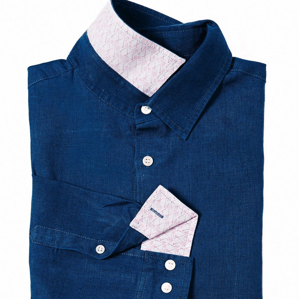 PINK HOUSE MUSTIQUE - Linen Shirt (Ensign Blue)