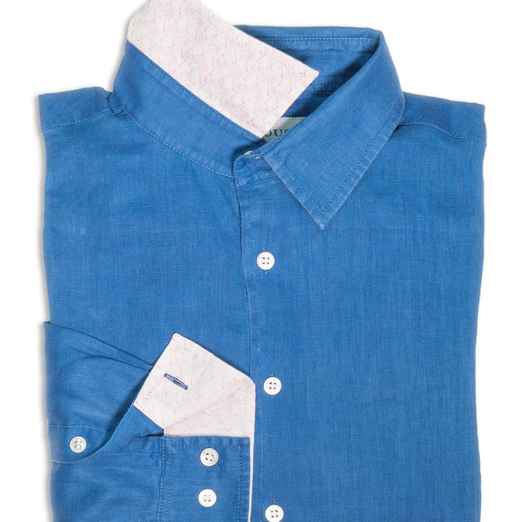 PINK HOUSE MUSTIQUE - Mens linen shirt (Dazzling Blue)
