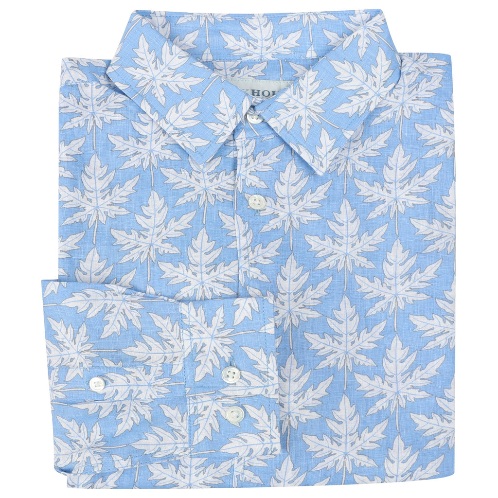 Pink House Mustique - Linen Shirt (Blue Papaya)