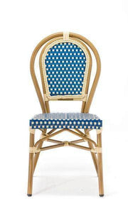 Blue Paris Cafe Bistro Dining Chair with Cream Frame