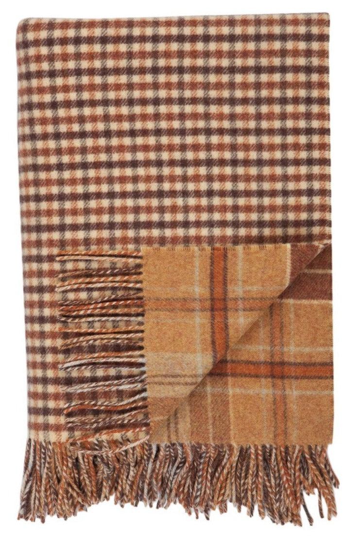 Lambswool Double Face Check Throw | Findhorn