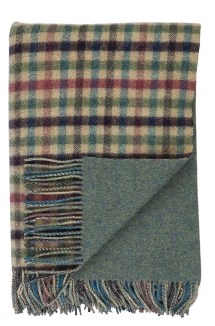 Lambswool Double Face Check Throw | Lock Oire