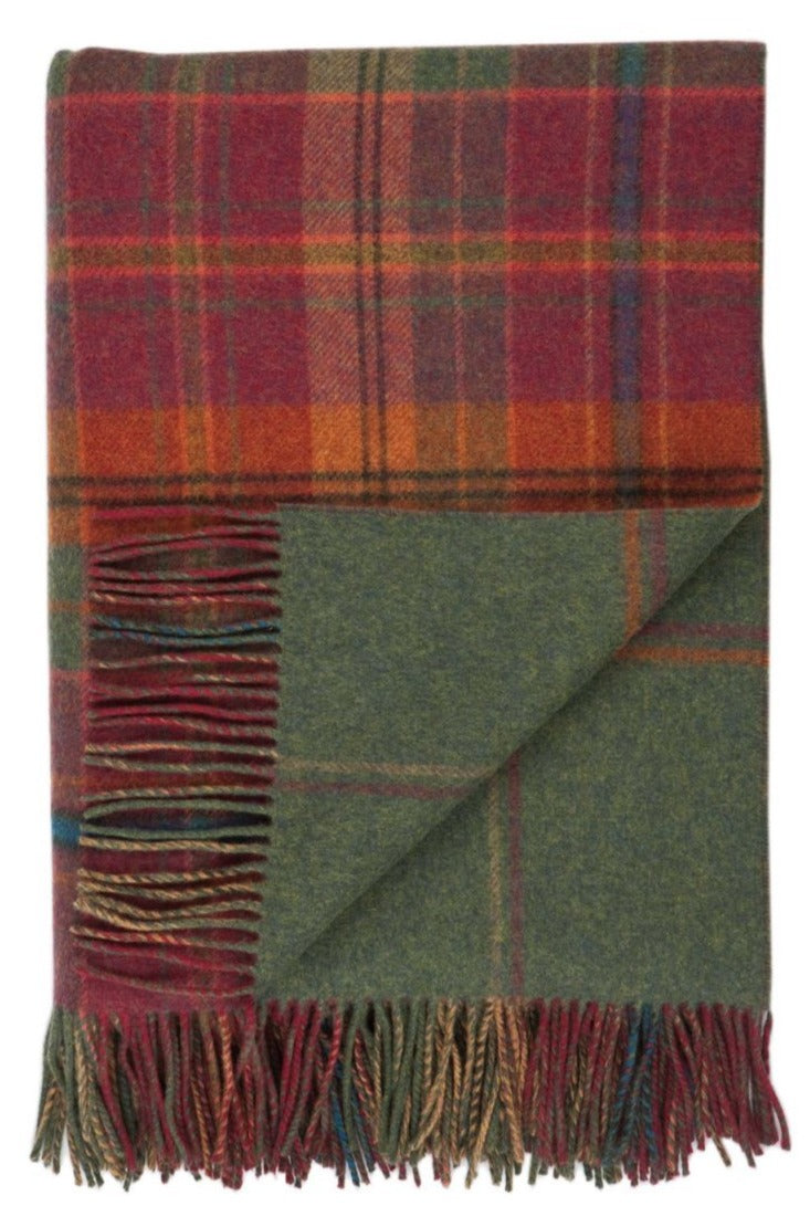 Lambswool Double Face Check Throw | Dunoon