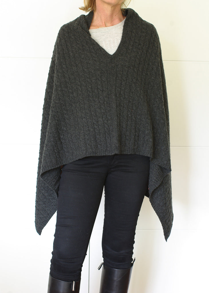 Scottish Cashmere Australia Cable Knit Poncho Black
