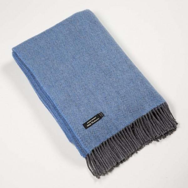 Merino Cashmere Throw - Sky Blue Herringbone