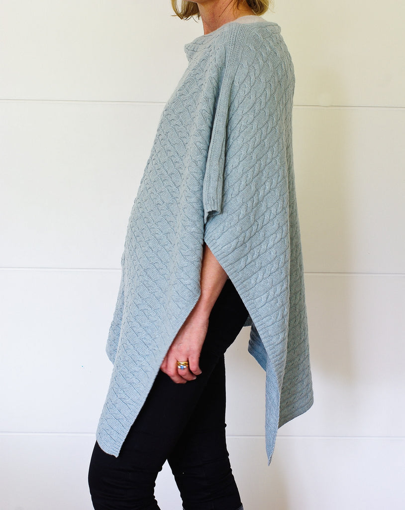 SCA 3-Ply Cable Knit Poncho - Duck-Egg Blue