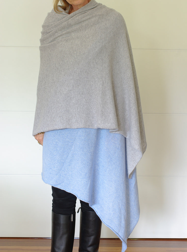 SCA Travelwrap - Powder Blue & Silver Grey Half-Half