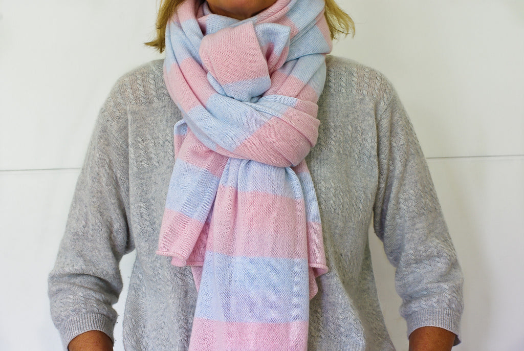 SCA Travelwrap - Ice Blue & Cherry Blossom Pink Striped
