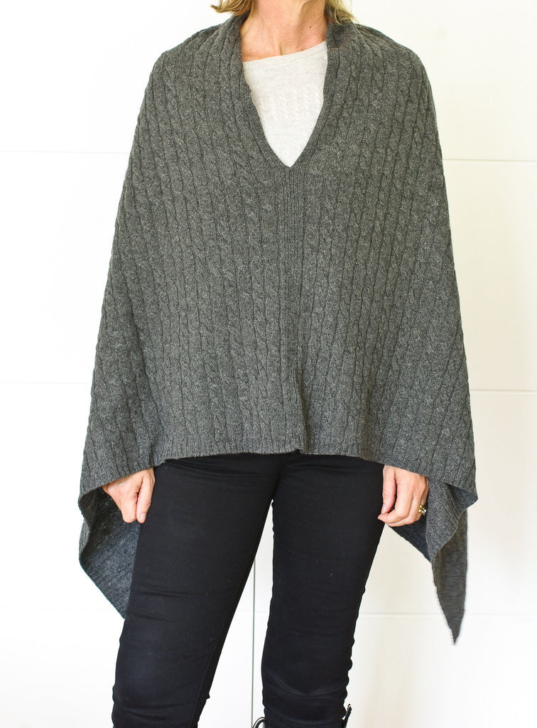 SCA 3-Ply Cable Knit Poncho - Charcoal
