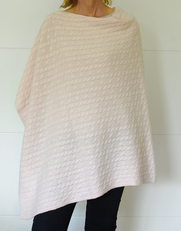SCA 3-Ply Cable Knit Poncho - Palest Pink