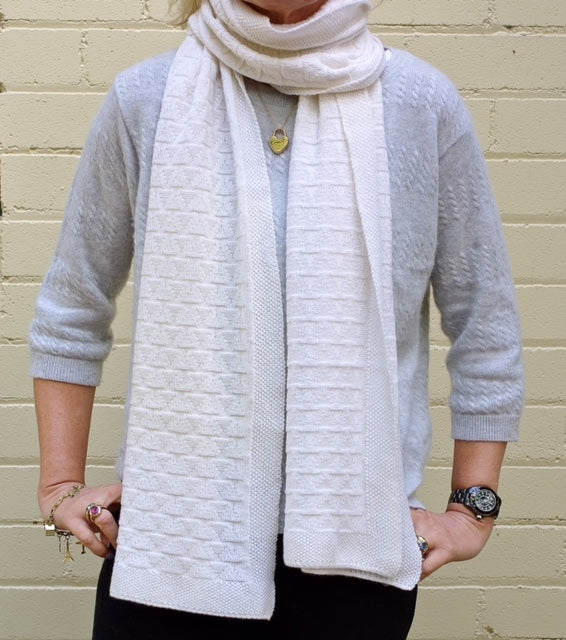 SCA Cashmere Chevron Scarf - Winter White