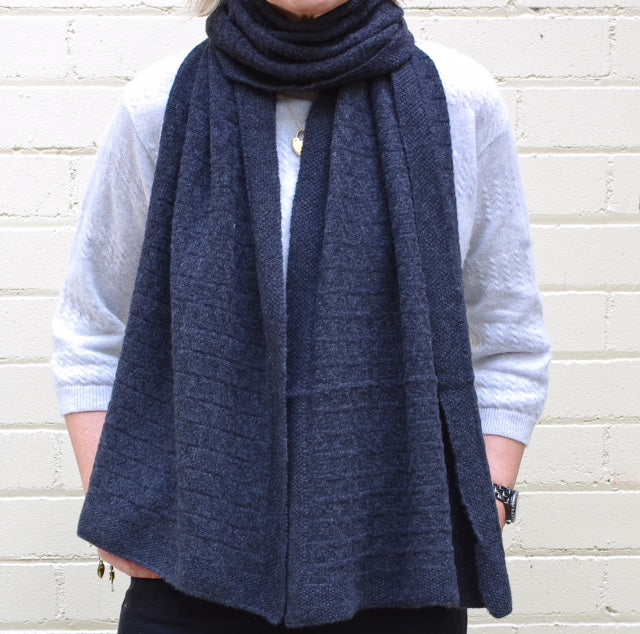 SCA 3-Ply Cashmere Chevron Scarf - Navy