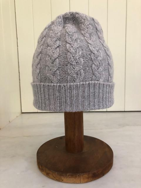 3-ply Beanies | Felt Grey Cable Knit